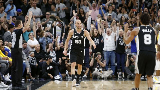 Ginóbili la rompió y dejó con vida a los Spurs