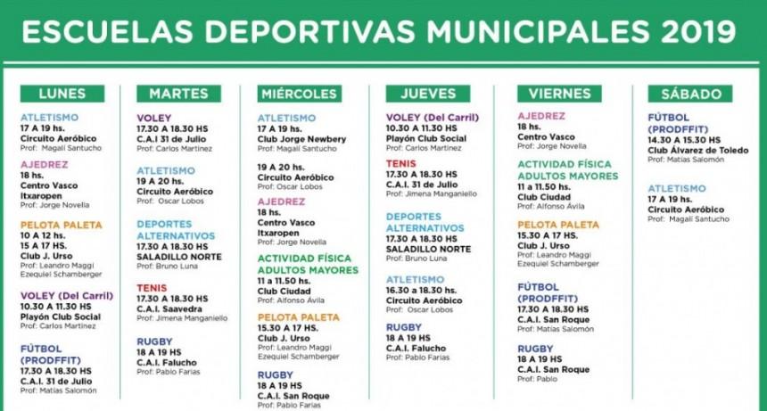 Escuelas Deportivas Municipales 2019 en Saladillo